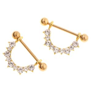2 Stücke Mode Frauen Nipple  Kristall Nippel Ring 1,6mm Spur Gold Ton