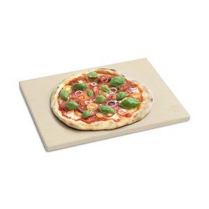 Burnhard Universal Pizzastein für Backofen & Grill aus Cordierit | rechteckig | für Brot, Flammkuchen & Pizza geeignet | 38 x 30 x 1.5 cm