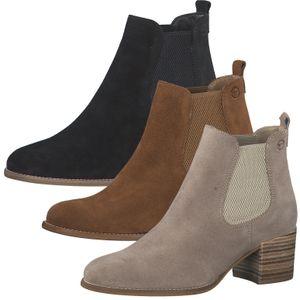 Tamaris Damen Chelsea Boots Stiefeletten Leder 1-25342-26, Größe:38 EU, Farbe:Beige