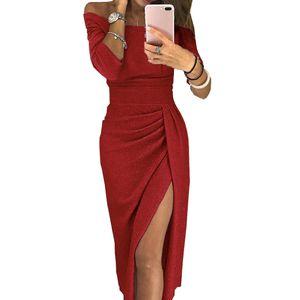 Abendgesellschaft Sexy Frauen Schulterfrei High Split 3/4 Ärmel Figurbetontes Maxikleid Rot L ALCYONEUS1