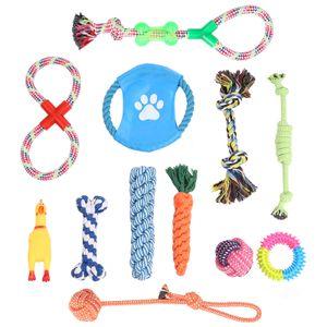 WELLGRO 12-tlg. Hundespielzeug Set - Kauspielzeug - Material Baumwolle/Kunststoff - interaktives Spielset - Zerr- und Beutespiel