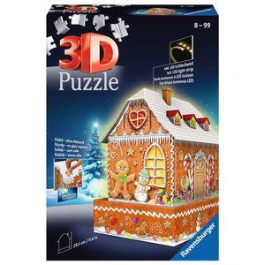 RAVENSBURGER 3D Puzzle-Bauwerke Lebkuchenhaus bei Nacht Weihnachten 216 Teile