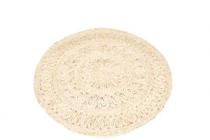 Strohteppich mit Muster 60 cm rund | Maisstrohteppich Natur | Stroh Teppich | Maisstroh Teppich | Reisstrohteppich | Naturteppich