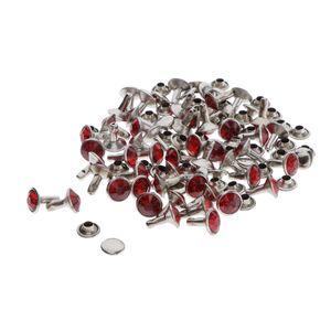 50 Stück Hohlnieten für Leder, 7mm Ledernieten Strassieten Schmucknieten, rot