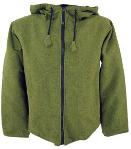 Goa Jacke, Ethno Kapuzen Jacke Flower of Life - Olivgrün, Herren, Baumwolle, Größe: XL