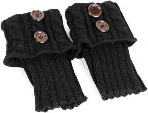 Damen stricken Stulpen Socken Gestrickte kurzer Punkt Legwarmer Boot-Abdeckung Socken schwarz