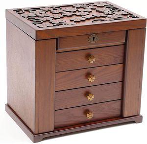 Schmuckkasten 5 Schichten Schmuckschatulle Braun Holz Kosmetikkoffer Uhrenkasten Aufbewahrungsbox für Ringe Ohrringe Geschenk für Damen Frauen