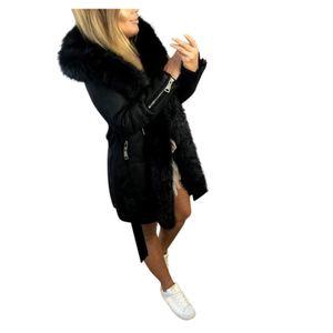 Frau langer Wollmantel Elegante Mischmäntel Schlanker weiblicher Mantel Oberbekleidung Jacke Größe:L,Farbe:Schwarz