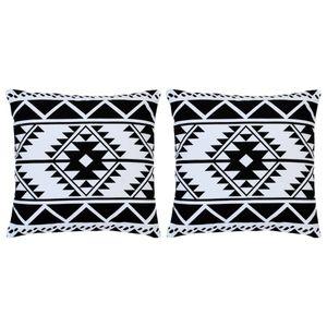 Huicheng Kissen 2 Stk. Bedruckt Schwarz und Weiß 40 x 40 cm Baumwolle