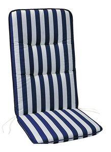 Best D.0268 Sesselauflage hoch 120 x 50 x 6 cm , Farbe Blau/Weiß gestreift