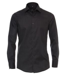 Größe 46 Venti Hemd Grau Uni Twill Langarm Modern Fit Tailliert Kentkragen 100% Baumwolle Bügelfrei