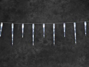 Konstsmide - LED Eiszapfen Lichtervorhang, 16 Zapfen, 24 kalt weiße Dioden, 24V Außentrafo, weißes Kabel ; 2746-202