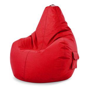 Green Bean © Cozy Beanbag, Gaming Sitzsack Sessel 80x70x90 cm, 230 Liter EPS Perlen Füllung, Indoor Gamingstuhl & Outdoor Gamer Sitzkissen, Bean Bag Lounge Chair für Kinder & Erwachsene, Rot