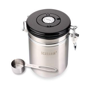 Schramm® Kaffeedose 1500 ml in 10 Farben mit Dosierlöffel Höhe: 15cm Kaffeedosen Kaffeebehälter aus Edelstahl , Farbe:Silber