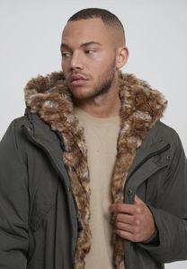 Urban Classics TB2431  Hooded Faux Fur Parka, Größe:XL, Farbe:darkolive