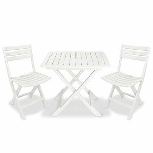 Hochwertigen 3-tlg. Gartenbar-Set ,Sitzgruppe ,Bistrotisch und Barstuhl für Garten Klappbar Kunststoff Weiß