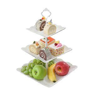 3 Etagen Servierplatte Servierständer Kuchenständer Porzellan Etagere Obst Halter Weiβ Etagenständer Servierplatte Etagenplatten