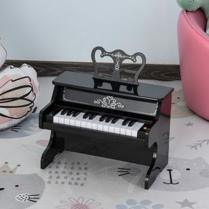 HOMCOM Kinder Elektronisches Klavier Mini-Klavier 25 Tasten Kinderpiano Keyboard für 3-6 Jahre Musikinstrument inkl. Notenpult ABS Schwarz 39,5 x 23,5 x 38,5 cm
