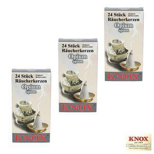 3 Packungen Knox Räucherkerzen Opium - 24 Kegel je Packung