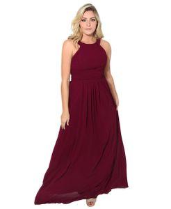 Damen Chiffon Abendkleid Ärmellos Gerüscht Maxikleid Lang Ballkleid Hochzeitskleid Cocktailkleid