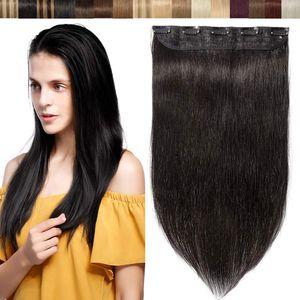 S-noilite Clip in Hair Extensions Echthaar ein Tressen Haarverlängerungen Kopf Haar Verlängerungen Naturschwarz 55 cm