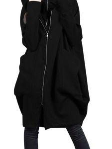 Damen Winter Kapuze Mittellanger Mantel Dual Zip Coat Casual Loose Jacket,Farbe:Schwarz,Größe:XL