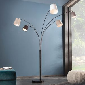 Design Bogenlampe LEVELS 200cm schwarz grau 5 Leinen Schirmen Stehlampe Bogenleuchte Stehleuchte
