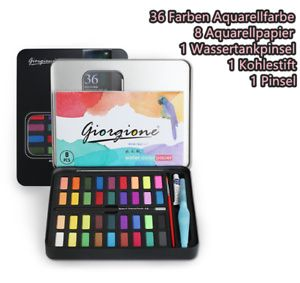 Aquarellfarbkasten 36 Wasserfarben 2 Pinsel 1 Kohlestift 8 Aquarellpapier Set