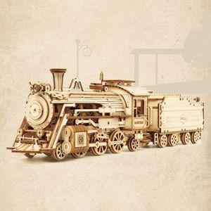 Holzpuzzle-Modell Auto Modellbausätze Für Erwachsene Holzmodell Dampflokomotive