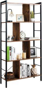 COSTWAY Bücherregal, Büroregal im industriellen Design, Raumteiler braun, Standregal mit 5 Ebenen, Aktenregal mit Metallrahmen, Aufbewahrungsregal mit Kippschutzbeschlag