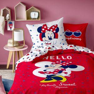 """Minnie Mouse Renforce Bettwäsche """"Hello"""" 80x80 + 135x200 cm, 100 % Baumwolle"""
