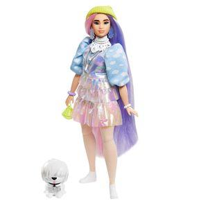 Barbie Extra Puppe mit langen Pastell-Haaren, inkl. Haustier