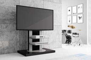Fernsehtisch Roma H-777nw Schwarz Hochglanz 360° drehbar TV Möbel TV Rack TV Ständer LCD inkl. TV-Halterung