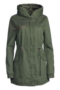 Damen Winter Jacke 3in1  100% Baumwolle Pelz Kapuze, Farbe:Olive-Weiß, Größe:M