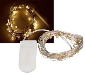 "LED Draht-Lichterkette McShine ""Micro"", 50 LEDs, warmweiß, Batteriebetrieb"