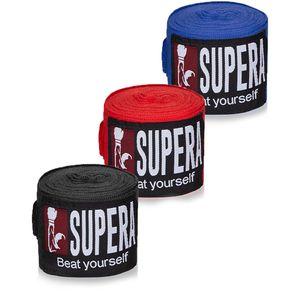 SUPERA Boxbandagen mit Klettbandverschluss, Farbe:rot, Supera Bandage Länge:4.5m