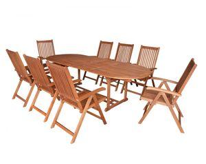 Gartenmöbel-Set Gartengruppe Gartenmöbel Garten-Set 9-teilig Eukalyptusholz