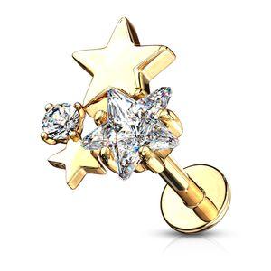 Labret Piercing Lippenpiercing Stab Sterne Stars Monroe Madonna Medusa Stecker Stud Zirkonia Kristalle Autiga®  1,2 mm 6 mm