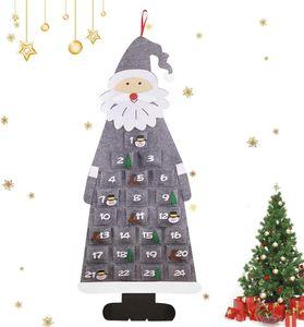 Adventskalender zum Befüllen Kinder, Stoff-Adventskalender, Weihnachtskalender selbst Befüllen Santa, XXL Adventskalender Taschen, Weihnachtskalender zum Befüllen Kinder Stoff, Grau