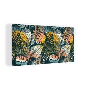 Leinwandbild - Abstraktes kreatives nahtloses Muster mit tropischen Pflanzen und künstlerischem Hintergrund. Modernes exotisches Design für Papier, Umschlag, Stoff, Inneneinrichtung und andere