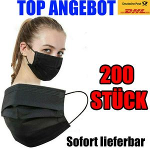 200 x  Einwegmaske Schwarz Atemschutzmaske Gesichtsmaske Schutzmaske Mundschutz Atemschutz OP Design