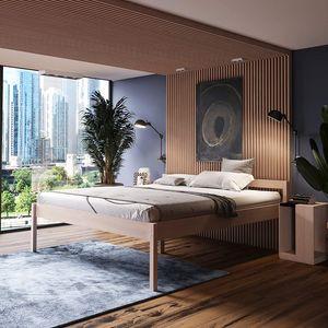 Seniorenbett 200x200 Triin in Scandi Style aus hartem Birken Massivholz - über 700 kg Hypoallergen - Holzbett 55 cm mit Kopfteil - Stabiles Doppelbett für Senioren Gästebett
