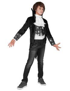 Dracula Vampir Halloween-Kinderkostüm schwarz-weiss