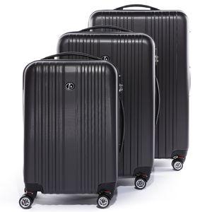 FERGÉ 3er Kofferset TOULOUSE ABS Dure-Flex anthrazit 3er Hartschalenkoffer Roll-Koffer 4 Rollen Kofferset Hartschale 3-teilig