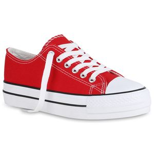 Mytrendshoe Damen Plateau Sneaker Canvas Turnschuhe Schnürer Plateauschuhe 825786, Farbe: Rot, Größe: 37