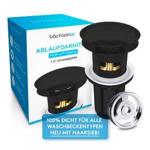 Bächlein Pop Up Ablaufgarnitur mit Überlauf für Waschbecken & Waschtisch - Schwarz