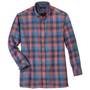 CasaModa Langarmhemd Übergröße lachs-blau kariert, Größe:7XL