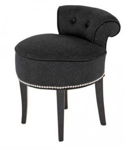 Casa Padrino Designer Hocker Stuhl aus massivem Eichenholz Dunkelgrau / Schwarz - Chesterfield Kolonial Stil Shabby Landhaus Barock Schminktisch Stuhl Möbel