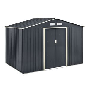 Juskys Metall Gerätehaus XL mit Satteldach, Schiebetür & Fundament   9m³   277×191×192 cm   anthrazit   Geräteschuppen Gartenhaus Garten Schuppen