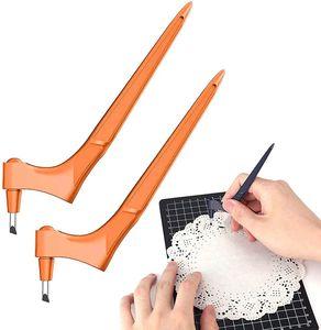 2 Stk Handwerk Schneidewerkzeuge inklusive 6 Ersatzklingen 360° Drehbar für Papier/Karton/Vinyl/Stanz- und Prägemaschinen Handwerksmesser (Orange)